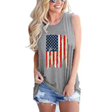 America Flag Print Independence Day Sleeveless Women Casual Tank Top
