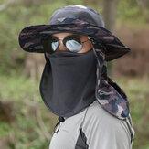 夏の男性の屋外の日焼け止めの日曜日の帽子はFashermanの帽子の防蚊釣りの帽子を偽装します
