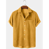Banggood Design Thin Corduroy Solid Revere Collar Chest Pocket Short Sleeve Shirts
