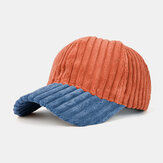 Collrown Men Corduroy Contrast Color Casual Youth Personality Sunvisor Curve Brim Baseball Hat