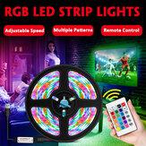 1M / 2M / 3M / 4M / 5M 2835 SMD USB RGB À prova d'água LED Faixa de luz Lâmpada de casa ao ar livre 5V + 24Keys Controle Remoto