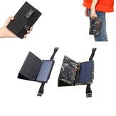 Camuflaje / Negro 7W 5.5V Panel de silicio monocristalino plegable Solar con dos mosquetones + puerto USB
