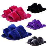 Winter Women House Slippers Faux Fur Warm Flat Shoes Female Slip on Home Furry Ladies Slippers