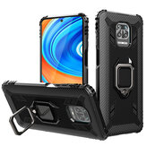 Bakeey for Xiaomi Redmi Note 9S / Xiaomi Redmi Note 9 Pro Case Carbon Fiber Pattern Armor Shockproof Anti-fingerprint with 360° Rotation Magnetic Ring Bracket PC Protective Case