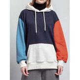 Women Patchwork Drop Shoulder Long Sleeve Kangaroo Pocket Design Hoodies