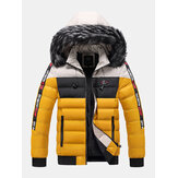 Mens Side Letter Pattern Side Pocket Thicken Fur Removable Hooded Down Jacket