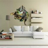 Creative Cartoon 3D Dinosaur PVC Broken Wall Sticker DIY Removable Decor Waterproof Wall Stickers Household Home Wall Sticker Poster Mural Decoration for Bedroom Living Room