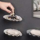 صندوق صابون على شكل صدفة طبق مزدوج لتصريف الزيت العطري صناديق صابون خالية من الثقب رف الحمام منظم رفوف تخزين المرحاض