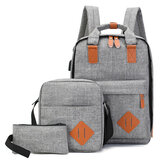 3PCS Männer Damen Schule Rucksack Umhängetasche Student Laptop Handtasche Reisetasche