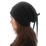 Women Plain Color Turban Hat Casual Bow Skullcap Beanie Caps