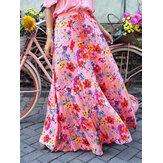 Estampa floral colorida grande balanço elástico cintura férias saia longa casual para mulheres