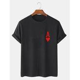 Camisetas masculinas Ace Of Hearts Poker Print 100% algodão manga curta
