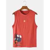 Cotton Cartoon Print Sleeveless Casual Tank Tops