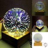 3D USB Волшебный База Стеклянный шар Шар Молния Лампа Ночной свет Фестиваль фейерверков