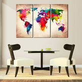 3 Unids Abtract World Map Impresión de la Lona Pinturas Wall Art Picture Decor Decoraciones Caseras Sin Marco