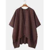 Mens Solid Open Front Casual High Low Hem Oversized Cape Cardigans