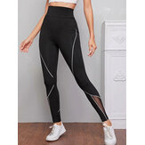 Original              Women Patch Line Print Elastic Waist Bodycon Sport Casual Leggings