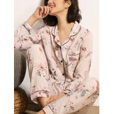 Women Floral Print Camp Collar Chest Pocket Long Sleeve Shirt & Pants Home Pajama Set