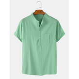 Mens Solid Color Cotton Linen Casual Short Sleeve Henley Shirts With Pocket
