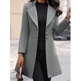 Women Stand Collar Single Breasted Pure Color Casual Blazers Coats