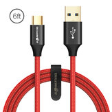 BlitzWolf® AmpCore Turbo BW-TC10 3A 6ft / 1.8m USB Type-C Fast شحن Cable USB 3.0 5Gbps Cord لنقل البيانات لـ Huawei P30 P40 Pro Xiaomi Mi10 Redmi ملحوظة 9S
