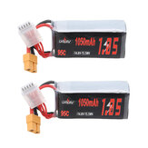 2Pcs URUAV 14.8V 1050mAh 95C 4S Lipo Battery XT60 Plug for FPV RC Drone