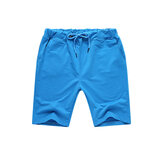 Summer Men's Solid Color Elastic Waist Sports Shorts