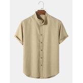 Camisas con botones de cuello de abuelo de color sólido informal para hombre