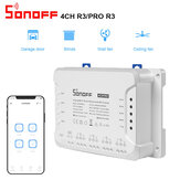 SONOFF 4CH R3 & 4CH PRO R3 AC100-240V 50 / 60Hz 10A 2200W 4 Gang WiFi DIY Smart Switch Inching / Auto-verrouillage / Interlock 3 Mode de fonctionnement APP Le commutateur de télécommete fonctionne avec Alexa et Google Home
