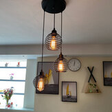 3-Light Industrial Pendant Lighting Ceiling Metal Caged Vintage Hanging Lamp Without Bulb