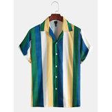 Pánská móda více pruhů tlačítka potlačit límec kauzální košile