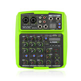 WENYANWEN Mini 2 canales USB Retardo y repetición Efferts Audio Mixer Console con Bluetooth