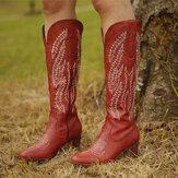 Bottes de cow-boy à fermeture à glissière à talon épais brodées à bout pointu rouge pour femmes de grande taille