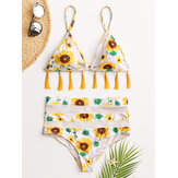 Frauen Sunflower Print Triangle Quaste String Backless Badeanzug High Waist Bikini