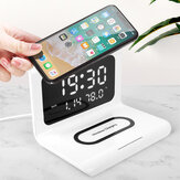 Bakeey Alarm Clock Time Temperature Display Wireless Charger Dock for Samsung Galaxy Note S20 ultra for Mi 10 for iPhone 12 Pro Max