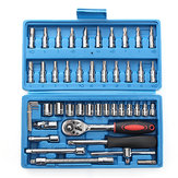 46Pcs Drive Heavy Duty Telescopic Shaft Ratchet Handle Socket Wrench Spanner Set