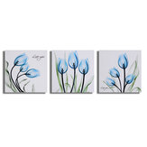 3Pcs Canvas Print Paintings Blue Tulip Wall Mural Decoration Art Pictures Frameless/Framed Wall Hanging Decorations for Home Office