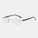 Unisex Anti-blue Light Frameless HD Diamond Trimming Bi-light Dual-use Reading Glasses Presbyopic Glasses