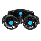 12V / 24V 360 Degree All-Round Mini Coche Aire Dual Fan Powered Auto Vehicle Cooling Verano de bajo ruido