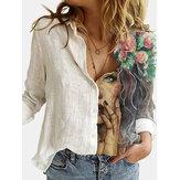 Dames figuurprint patchwork revers casual shirts met lange mouwen
