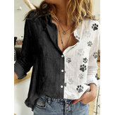 Women Paw Print Patchwork Long Sleeve Button Casual Shirts