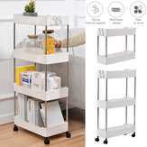2/3/4 Tier Storage Trolley Cart Rack Holder Kitchen Bathroom with Wheels Removable