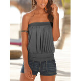 Pleated Strapless Sleeveless Solid Casual Cami