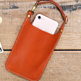 Véritable cuir vintage décontracté transporter 6,1 pouces sac de téléphone sac de monnaie sac de taille pour hommes femmes