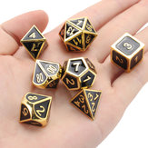 7Pcs Gold Dice Alloy Metal Polyhedral Role Multi-sided D4-D20 με τσάντες
