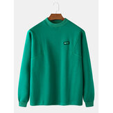 Mens Cotton Solid Color Label Round Neck Long Sleeve Pullover Design Sweatshirts
