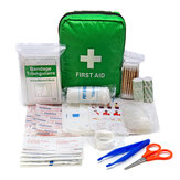 Green First Aid Kit With Bag SOS for Outdoor Camping Travelling Scissors Bandage Disposable Gloves