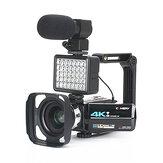 Câmera de vídeo KOMERY AF2 48M 4K para Vlogging Filmadora ao vivo NightShot Anti-shake Filmadora WIFI APP Controle de gravação de vídeo DV com estabilizador de luz de lente de microfone