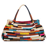 Women Casual Patchwork Cowhide Colorful Handbag
