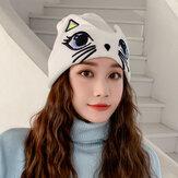 女性かわいいカジュアル猫の形のパターンオールマッチデイリーウォームPlus厚手のニット帽